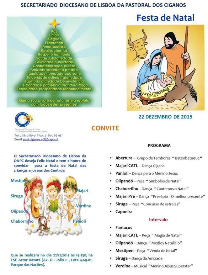 Convite da Festa de Natal SDL - Pastoral dos Ciganos